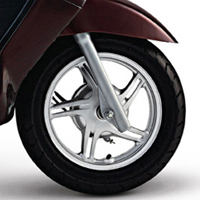 TVS Wego wheels and tyre view Picture
